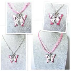 Todella upea ja laadukas pinkki/valkoinen perhoskaulakoru