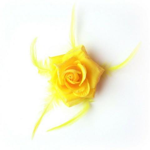 Pukukukka / Hiuskukka Keltainen Ruusu Glitterillä