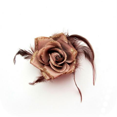 Pukukukka / Hiuskukka Ruskea Ruusu Glitterillä