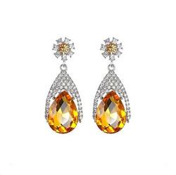 Keltaiset kristalli-/strassikorvakorut juhlaan