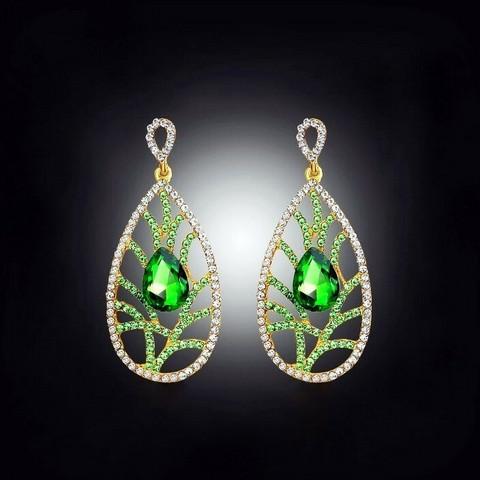 Isot vihreäkultaiset kristalli-/strassikorvakorut
