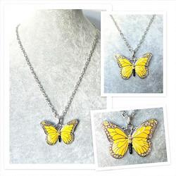 Upea ja laadukas keltainen perhoskaulakoru