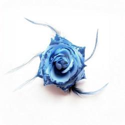 Pukukukka / Hiuskukka Sininen Ruusu Glitterillä