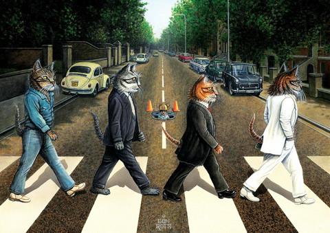 Art Puzzle Cat Road palapeli