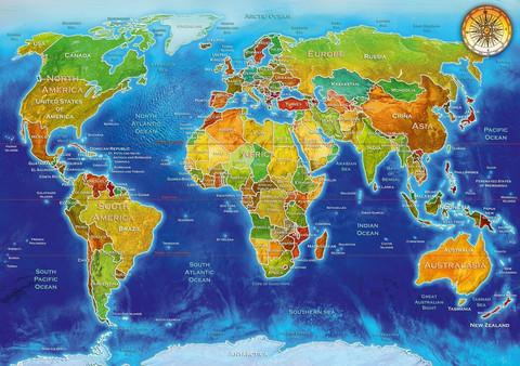 Bluebird World Geo-political Map palapeli