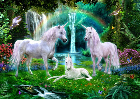 Bluebird Rainbow Unicorn Family palapeli