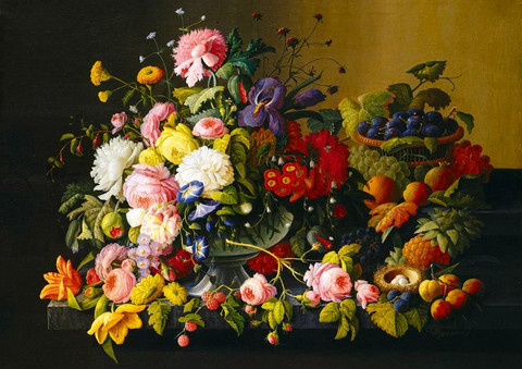 Bluebird Severin Roesen-Still Life, Flowers and Fruit palapeli
