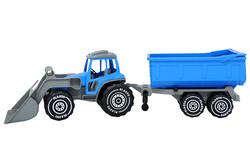 Plasto kauhatraktori+peräkärry sininen