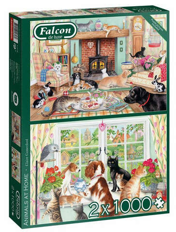 Falcon Claire Comeford Animals At Home palapeli 2x1000 palaa