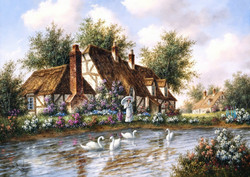 Grafika Dennis Lewan - Admiring The Swans palapeli