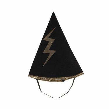 Mustakultainen velhon kääntöviitta ja hattu