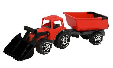 Plasto Kauhatraktori+peräkärry punainen