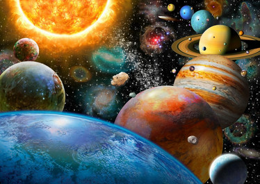 Bluebird Planets and Their Moons -palapeli 500 palaa