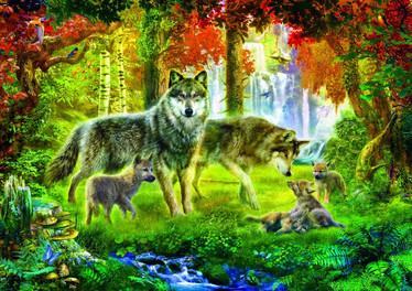 Bluebird Summer Wolf Family -palapeli 1000 palaa