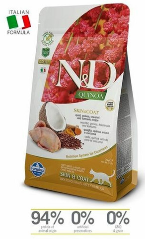 N&D Cat Skin & Coat Ad. Quail-Quinoa-Coconut-Turmeric  1,5kg