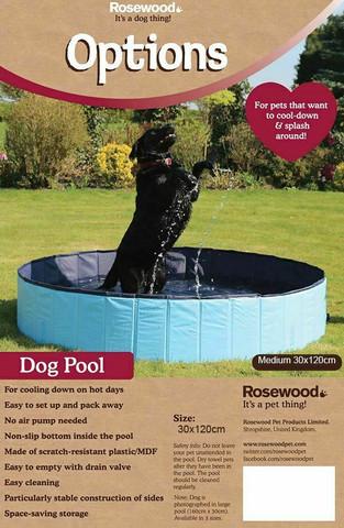Rosewood koiran uima-allas M 120x30cm, venttiilillä, taitettava