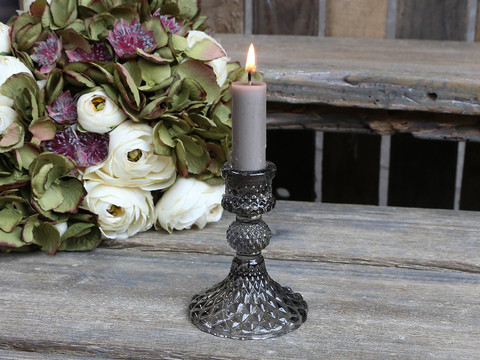 Candlestick glass grey