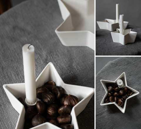 Star bowl to candle white