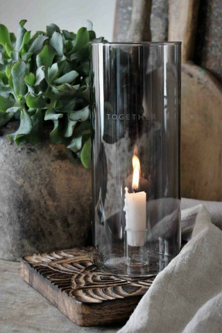 Candleholder smoke glass together