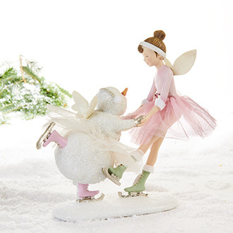 Skating fairy and snowman
