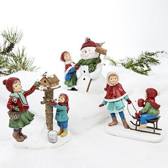 Child w. snowman/birds/sled, poly – 16CM