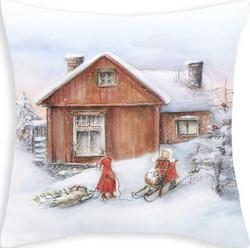 Tyynypäällinen lapset ja mökki