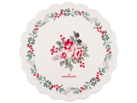 Ceramic Coaster round Charline white