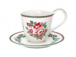 Kahvikuppi ja asetti Charline white