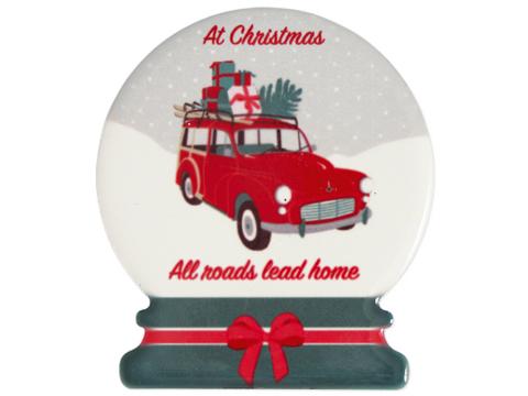 Ceramic magnetset Christmas car red