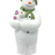 Snowman and dog in he lap