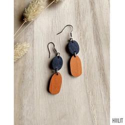 Kaksikko-korvakorut musta+oranssi