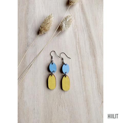 Kaksikko-korvakorut sininen+keltainen