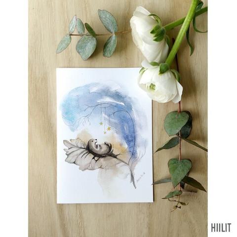 Pieni-ihme sininen  2-osainen kortti kirjekuorella