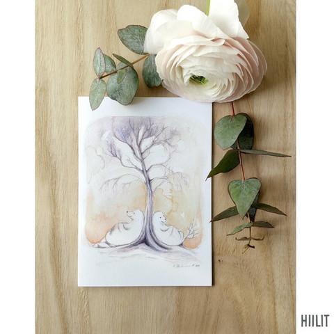 Puun juurella 2-osainen kortti kirjekuorella
