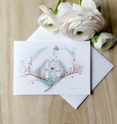 Sydämet 2-osainen kortti kirjekuorella