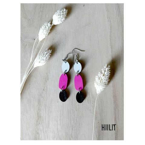 Kolmikko-korvakorut harmaa+pinkki+musta