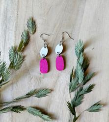 Kaksikko-korvakorut vaalean harmaa+pinkki