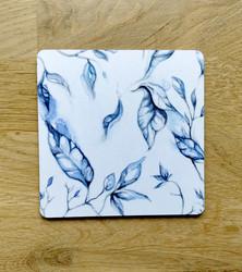 Lehti lasinalunen, sininen
