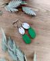 Kaksikko-korvakorut valkoinen + vihreä
