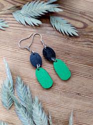 Kaksikko-korvakorut musta + vihreä