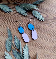 Kaksikko-korvakorut sininen + lila