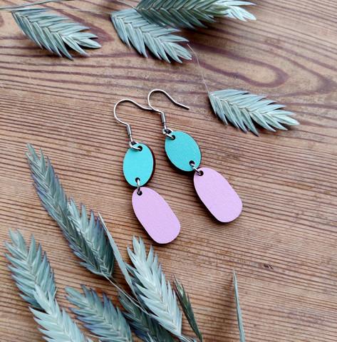 Kaksikko-korvakorut vaalea turkoosi + vaaleanpunainen