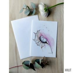 Pieni-ihme vaaleanpunainen 2-osainen kortti kirjekuorella