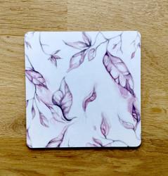 Lehti lasinalunen, vaaleanpunainen