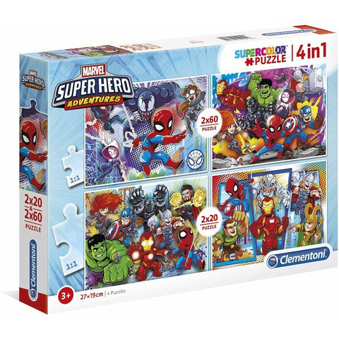 Clementoni 2 X 20Pc + 2X 60Pc palapeli Marvel Supersankarit