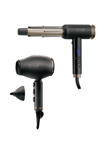 Diva Air Curl kiharrin 25mm ja Diva Intenso 4000 Pro fööni, musta