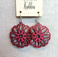 Korvakorut Kukkia Pinkki glitter