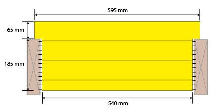 FI-K600 250/65 mm (Rossipohja, Seinät ja Katto)  Paksuus 250 mm  Leveys 600 mm  Pituus 2600 mm