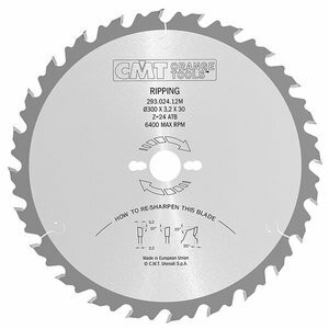 RIPPING-CROSSCUT SAW BLADE 450X3.8X30 Z36 10ATB, CMT