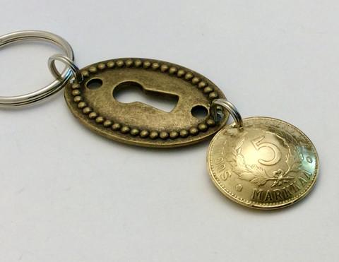 Avaimenperä 5 markkasesta avainkololla
